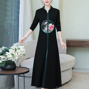 Cheongsam Chinese Traditional Dress Button Long Sleeves Vestido Vintage Robe Oriental Clothing Traditional Asian Dress FF2528