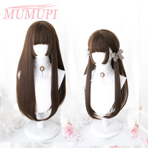 Lolita Wigs Synthetic Pink Long straight Hair with Bangs HimeCut Ombre Blue Black White Red Party Wig for Women Hair Extensions