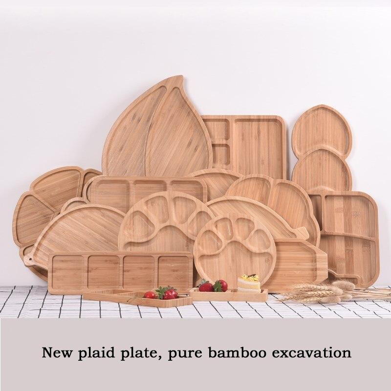 Bandeja creativa para conservar alimentos frescos, platos de tazones de bambú, plato de madera sólida para alimentos, bandeja para fruta, bandeja Base de madera sólida