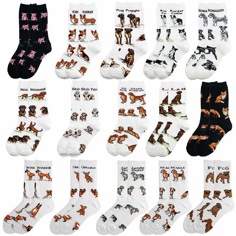 2020 Hot Popular Pet Animal Dog Cotton Casual Socks Women Men Streetwear Funny White Black Short Happy Dropshopping