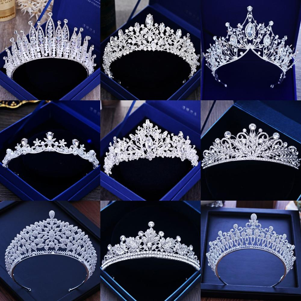Diverse Silver Color Gold Crystal Crowns Bride tiara Fashion Queen For Wedding Crown Headpiece Wedding Hair Jewelry Accessories