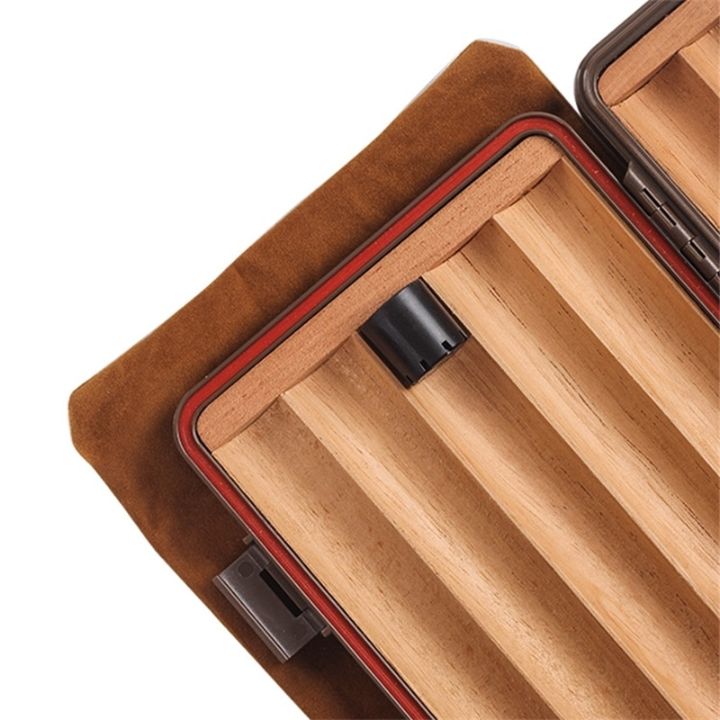 New Luxury Portable Travel Cigar Humidor 5 Pipe Portable Travel Cigar Humidors Cigar Box 5 Sticks CA-015 enlarge