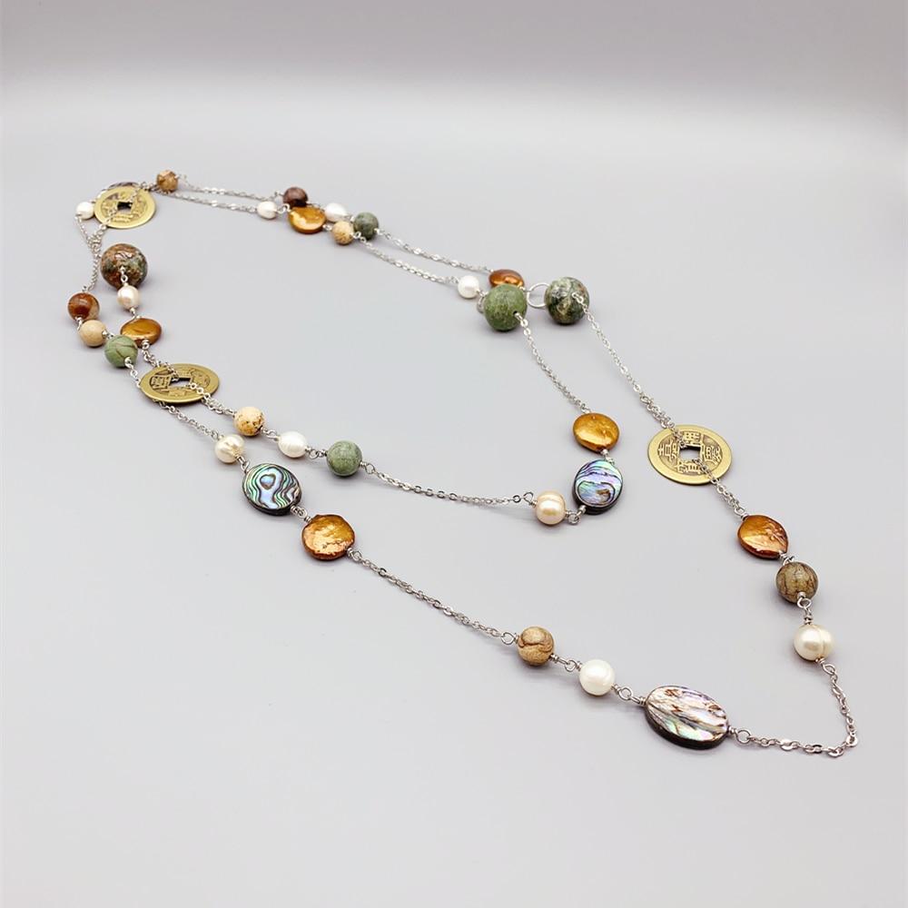 الأخضر العقيق البيج جاسبر القديمة الصينية عملات قلادة طويلة للنساء الشمبانيا اللؤلؤ الأبيض ablon ترابي عرضي خمر مجوهرات