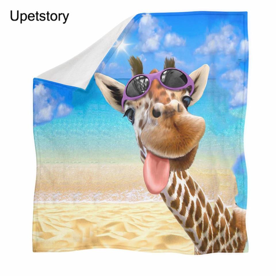 Upetstory Giraffe Printed Throw Blanket Winter Spring Keep Warm Plush Blanket for Kids Funny Animal Bedspread Travel Blankets