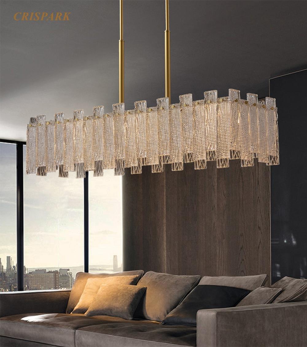 Candelabro Rectangular de Cristal moderno, iluminación LED, Art Deco, Lustre, lámpara colgante...