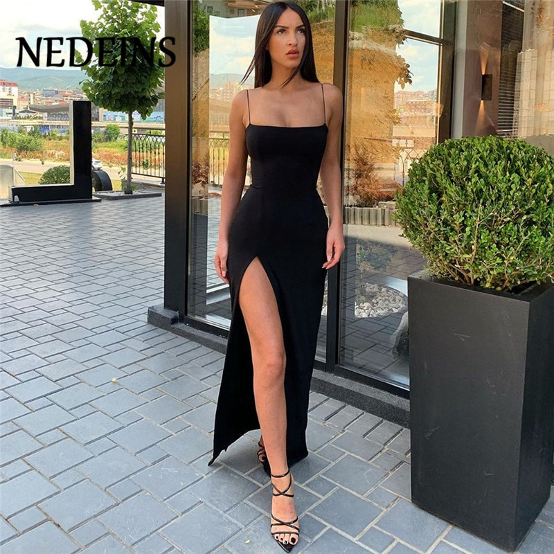 NEDEINS Women Summer Dress Backless Split Camisole Elastic Female Slim Fit Sexy Dresses Party Clubwear Long Sleeveless Dress