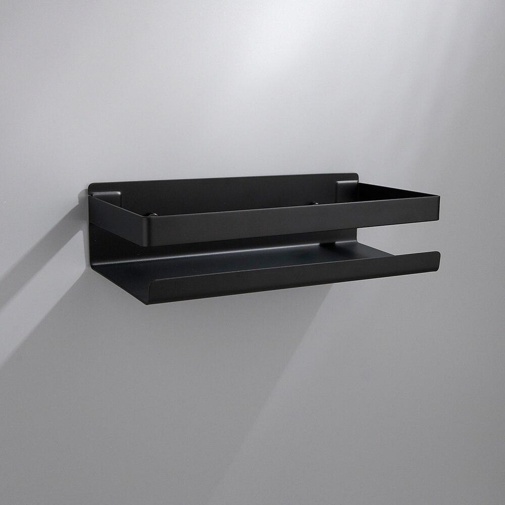 Estante de acero inoxidable, estante de pared duradero para baño (negro)