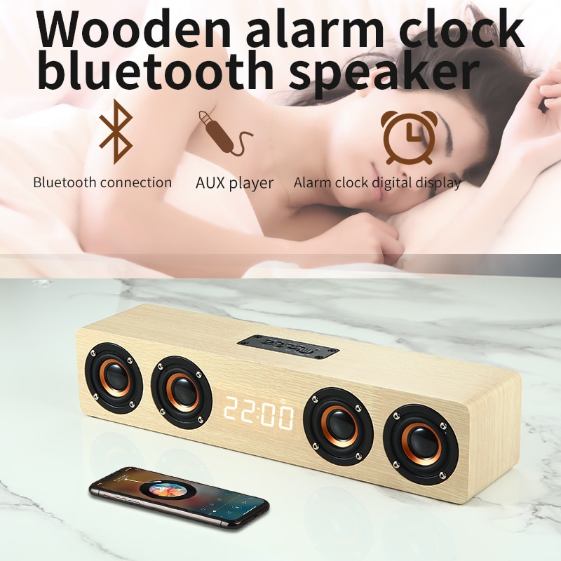 Wooden Wireless Mobile Phone Bluetooth Speaker, computer sound master multi-functional home alarm clock Retro Stereo enlarge