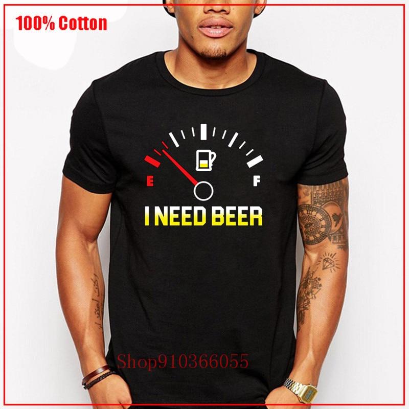 Medidor de combustible necesito regalo de cerveza para amante de la cerveza camisa blanca tamaño UE 100% de algodón de manga corta carismático básico Color chico diversificado
