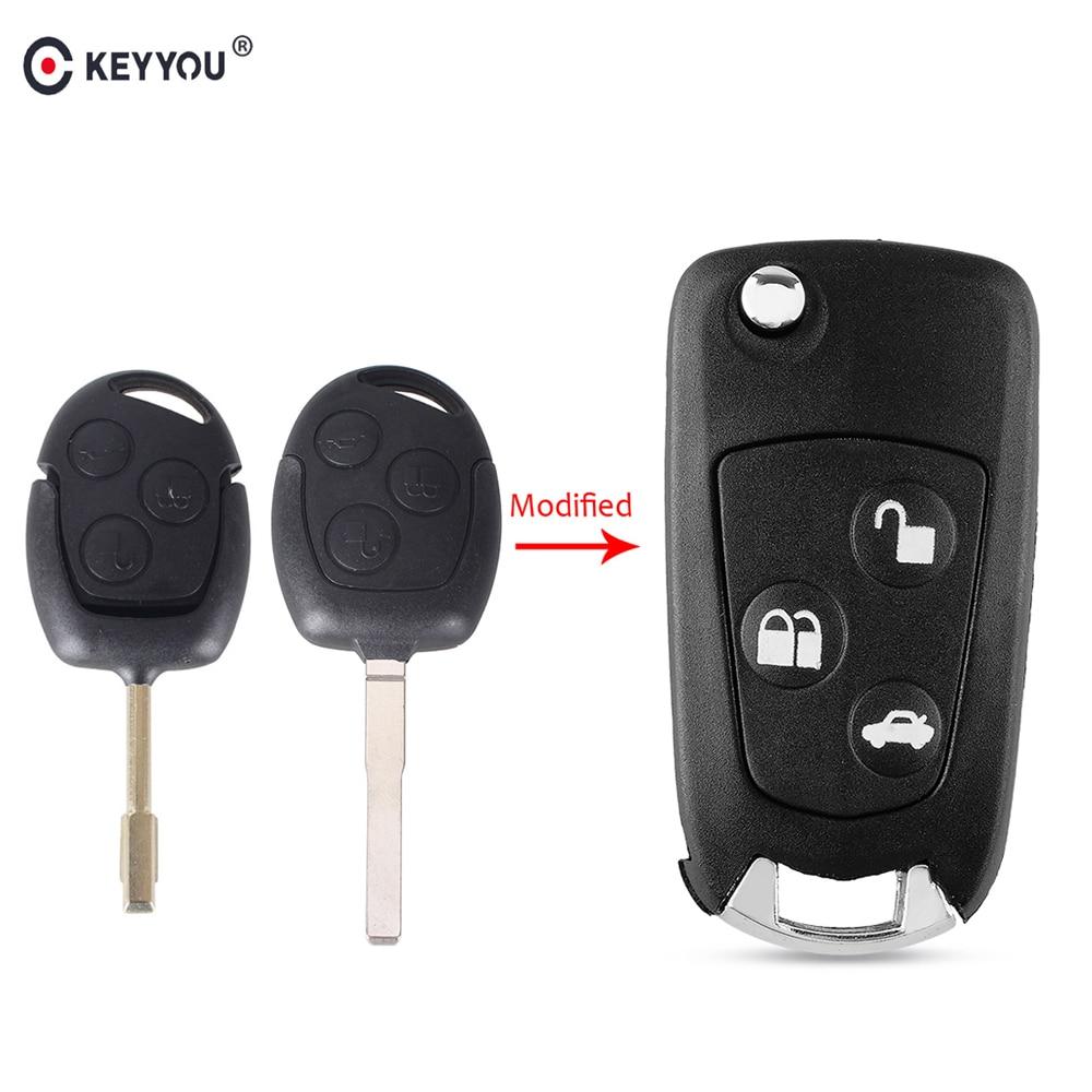 Keyyou 3 botões sem corte em branco modificado folding filp carro remoto caso chave cove para ford mondeo foco 2 3 festiva fiesta caso chave