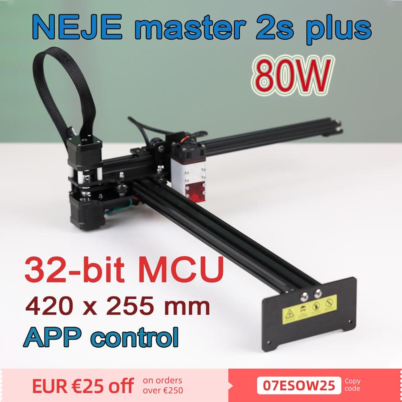 NEJE Master 2S Plus 255x420 مم ماكينة حفر بالليزر صغيرة تعمل بالتحكم العددي بواسطة الحاسوب ، جهاز توجيه الخشب ، نقش ، ماكينة تقطيع