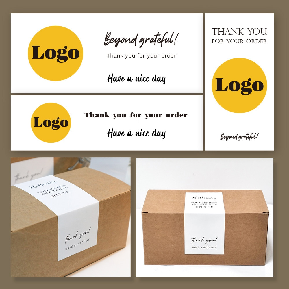 1000 PCS Custom Label Sticker Logo Stickers Personalized Packaging Label Wedding Birthday Baptism Party Design Thank You Sticker