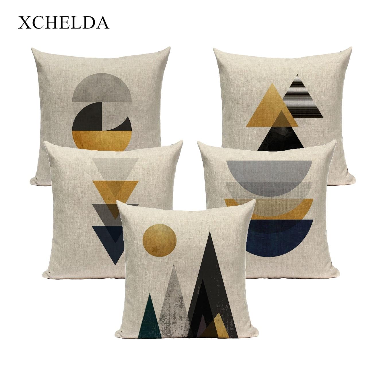 Funda de cojín de lino, funda de cojín, 45x45, 40x40, decoración geométrica nórdica para el hogar, funda de almohada para sofá cama, funda decorativa