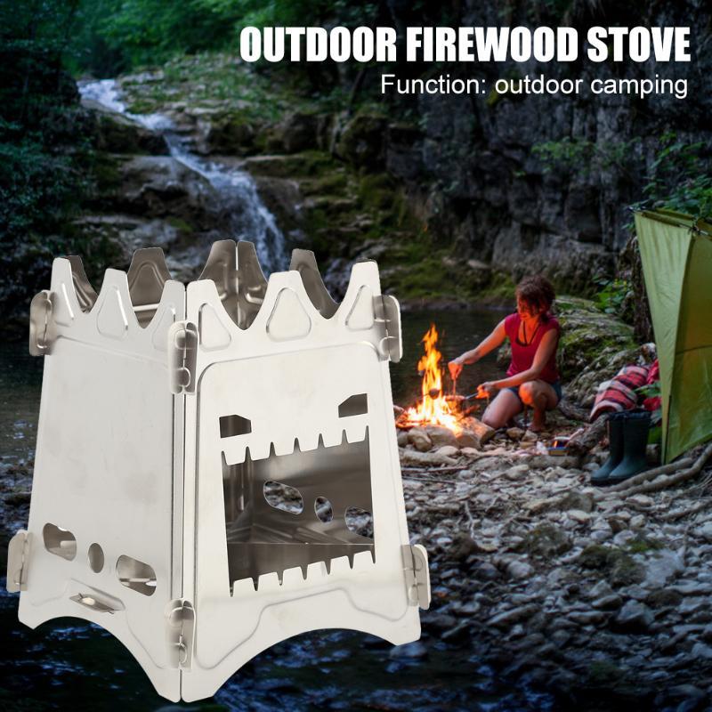 Estufa de madera plegable de alta calidad para cocinar al aire libre Camping con bolsillo plegable para Alcohol, estufa de acero inoxidable, Picnic, barbacoa