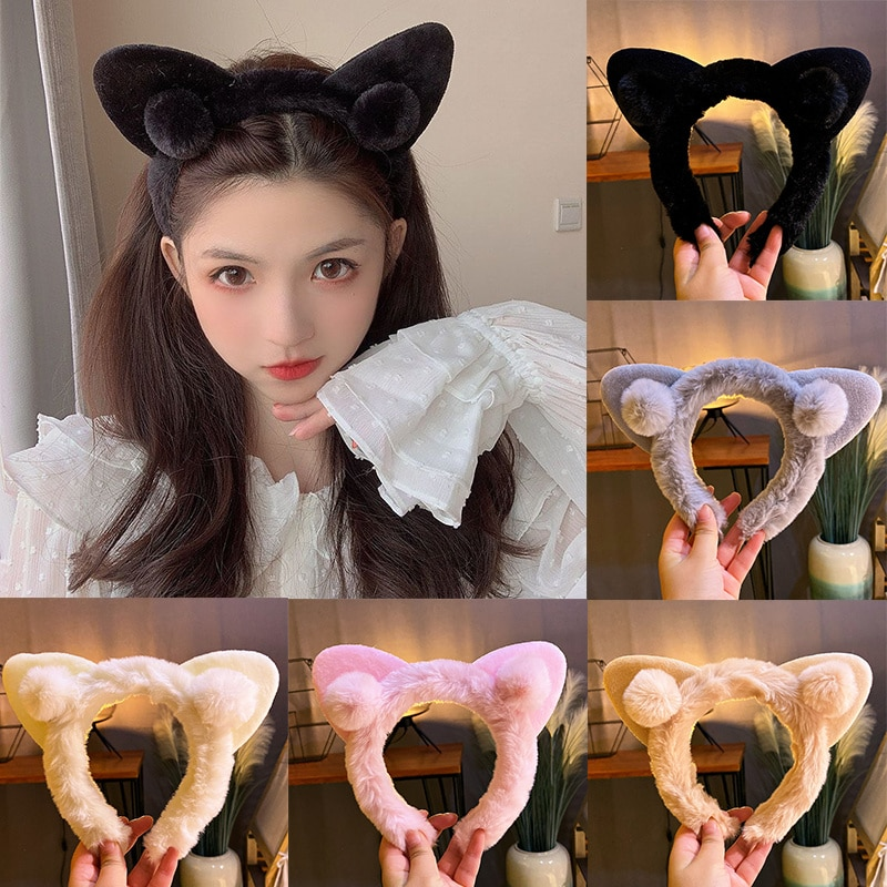 Cat Ears Headbands Simple Solid Faux Rabbit Fur Fluffy Ears Hair Bands For Women Girls Party Festival Fantastic Hair Accessories