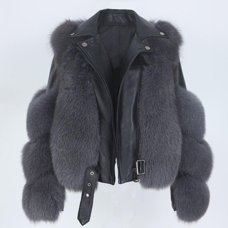 MENINA BONITA Real Fur Coat Vest Winter Jacket Women Natural Fox Fur Genuine Leather Outerwear Detac