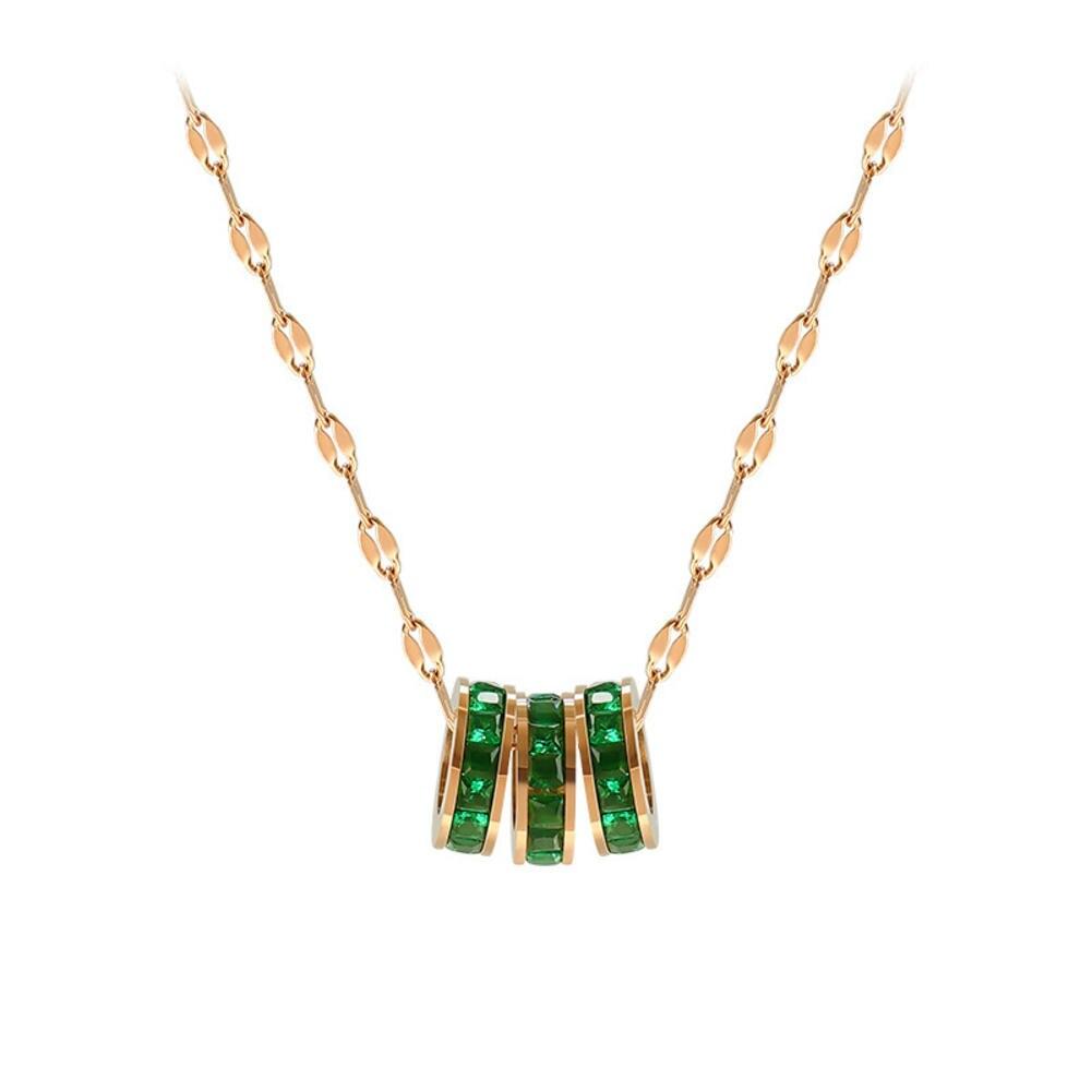 ¡Producto en oferta! COLLAR COLGANTE de acero inoxidable con círculo verde de cristal y Metal, collar de Color oro rosa, regalo para mujer, diseño especial