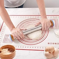 adjustable stainless steel rolling pin 4 adjustable thickness rings with scale cake roller dough rolling pin baking tools