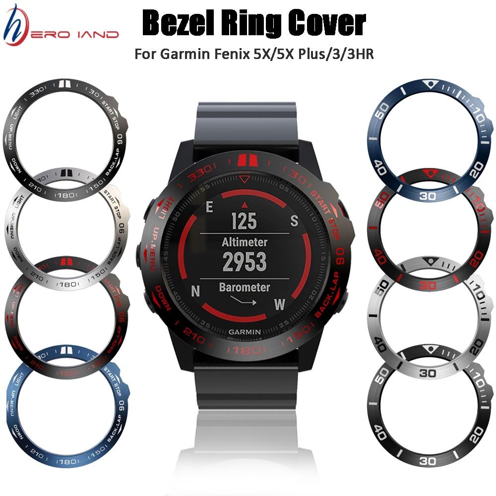 Funda de Metal antiarañazos con cubierta adhesiva para anillo de reloj para Garmin Fenix 5X/5X Plus Bezel Insert Fenix 3 Fenix 3 HR