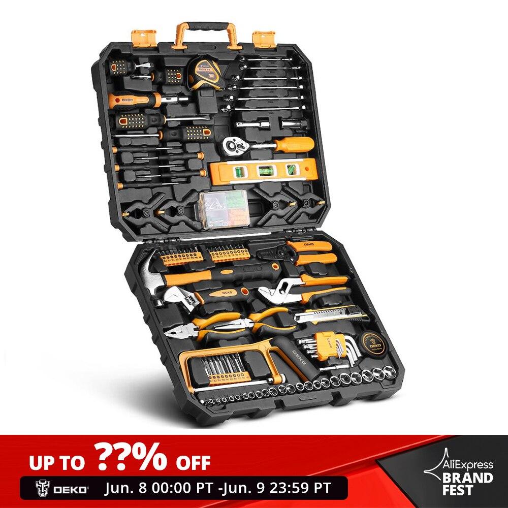 Juego de herramientas de mano DEKO, Kit de herramientas de mano General del hogar con caja de herramientas de plástico, caja de almacenamiento, llave de vaso, cuchillo destornillador