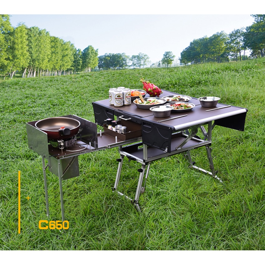 Estufa de Gas plegable para exteriores, 5-7 personas, cocina móvil para exteriores, escritorio para senderismo, Camping, quemadores de Gas, estufa + parabrisas C550/C650