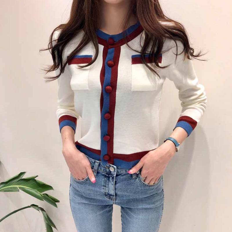 Zoki Fashionn Women Cardigan Sweater Korean Casual Single Breasted Long Sleeve Knitted Jacket Soft Autumn White Female Jumper