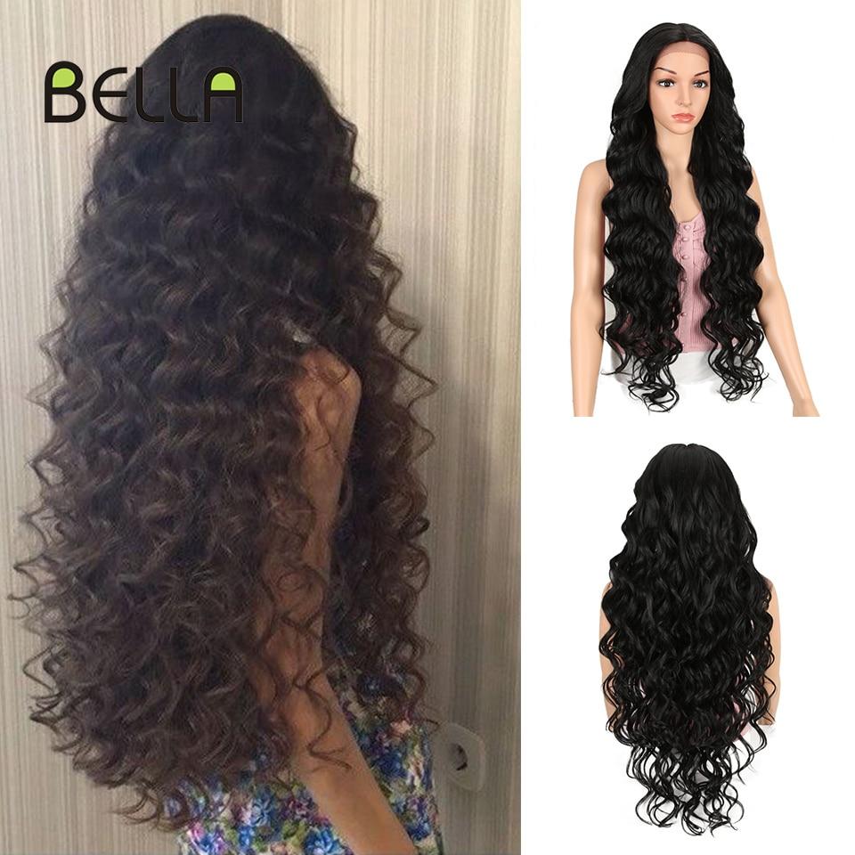 Bella 40 pulgadas peluca larga onda profunda alta temperatura fibra Rosa Rubio 613 negro marrón 9 colores encaje frontal pelucas sintéticas para mujeres