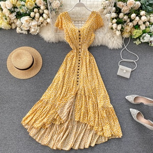 Women Summer Floral Maxi Dress Bohemian Irregular Ruched Backless Ruffle Dress Vintage Long Cotton Print Beach Sundress DZA341