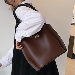 Vintage Large Tote Bucket Bag 2020 New High quality PU Leather Women's Designer Handbag High capacity Shoulder Messenger Bag