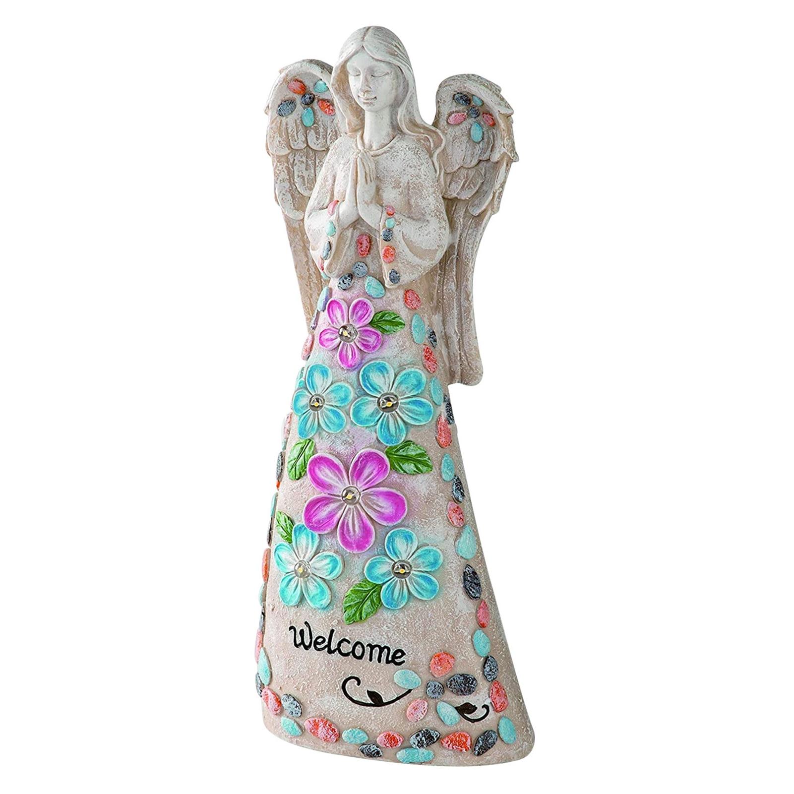 هدية في الهواء الطلق ساحة الفن الراتنج الشمسية النحت ديكور الباحة مع مصباح ليد في الحديقة تمثال ملاك حديقة تمثال علامة ترحيب