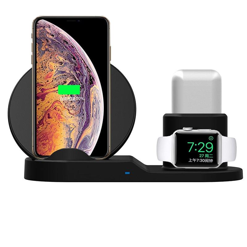 حامل شاحن لاسلكي Qi 3 في 1 ، 10 واط ، شحن سريع لهاتف iPhone 11 Pro XR XS Max 8 ، لساعة Apple Watch 2 3 4 5 لـ AirPods Pro