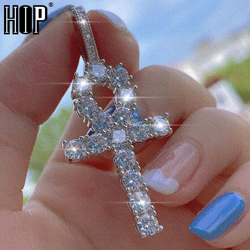 Hip Hop couleur argent Bling CZ croix glacé zircon cubique colliers et pendentifs pour hommes bijoux de charme