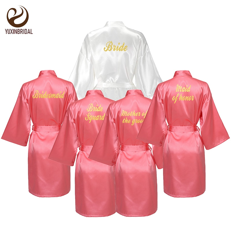 YUXINBRIDAL Coral Hot Stamping Gown Satin Silk Bride Robe Wedding Bridesmaid Dressing Robes