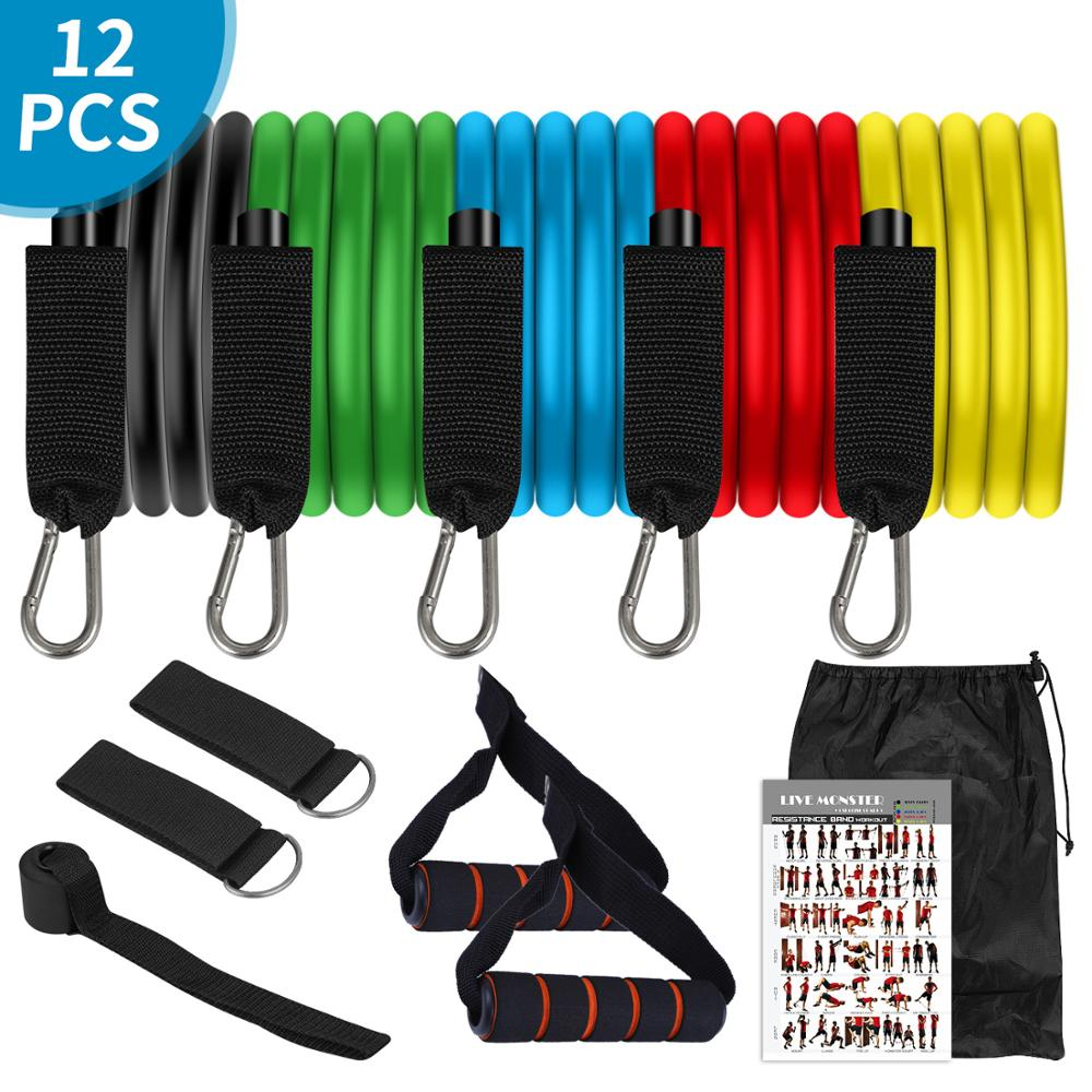 11Pcs TPE Latex Widerstand Bands Crossfit Übung Yoga Rohre Pull Seil, gummi Expander Elastische Bands Fitness mit Tasche
