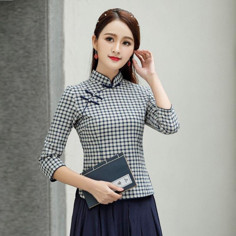 Delle donne della Grata della Camicetta Camicia 4XL Cheongsam Camicetta di Cotone Chinois Vintage QipaoTops Griglia Sette quarti di Manica di Stile Cinese Camicetta