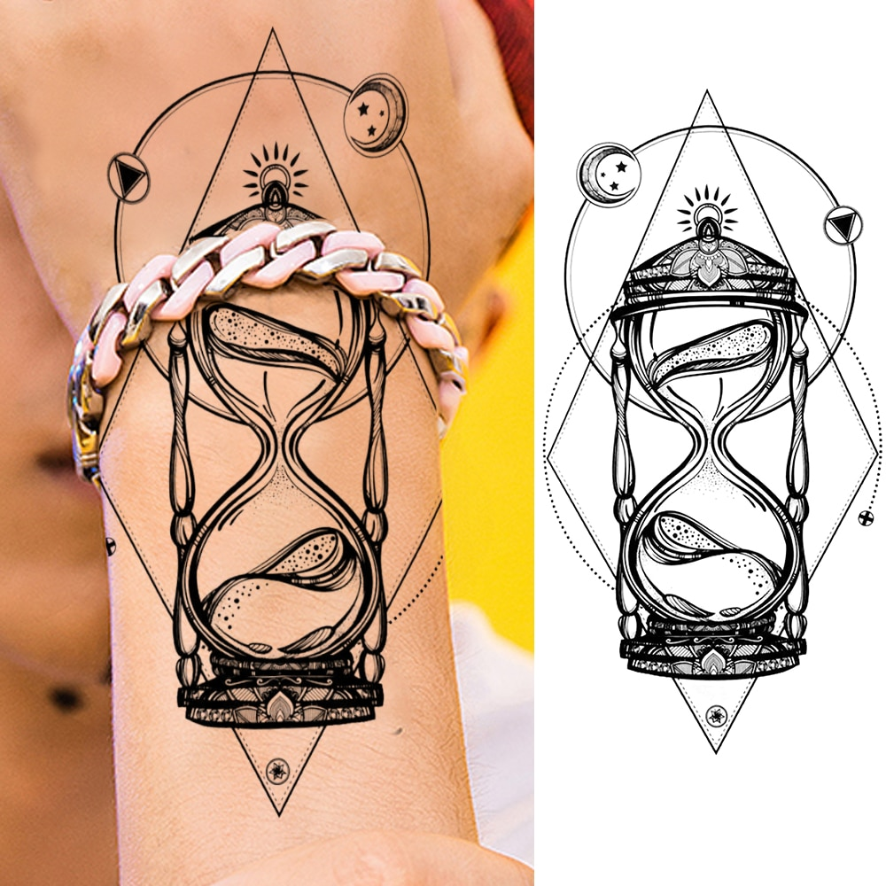 DIY a prueba de agua realista reloj de arena adultos tatuajes temporales para mujeres arte corporal Sexy chicas tatuaje para brazo pegatinas hojas