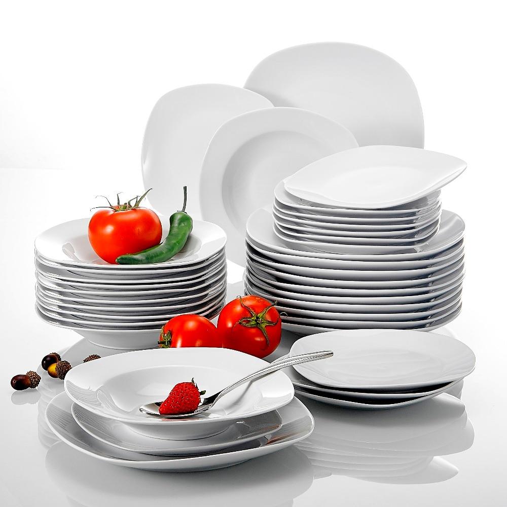 Malacasa série elisa 36-piece porcelana jantar conjunto sopa sobremesa pratos conjunto para 12 pessoa