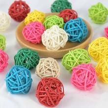 20 pçs 3cm forma redonda multicolorido natural bola de rattan sepak takraw bola para festa de aniversário de casamento decoração de natal navidad