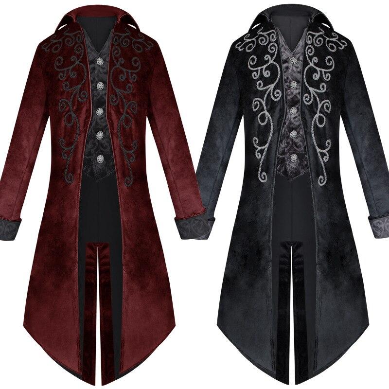 الرجال القرون الوسطى زي سهرة أزياء يرتدى القوطية خندق سترة معطف فستان الزي تتوافق موحدة ل الكبار