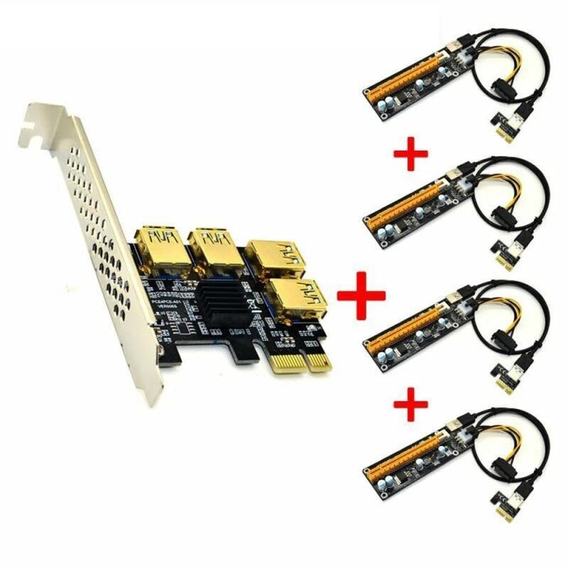 USB 3.0 PCI-E экспресс-карта Riser от 1x до 16x адаптер Райзера PCIE от 1 до 4 слотов PCIe карта-усилитель порта PCIE для майнинга биткоинов BTC