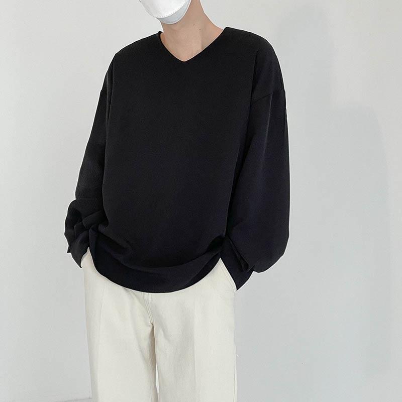 الخامس الرقبة الصلبة فضفاضة بأكمام طويلة تي شيرت الرجال عادية بسيطة الأسود حجم كبير تي شيرت الرجال الكورية موضة الرجال الأساسية تي شيرت 2021