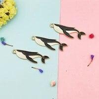 10pcs drop oil ocean shark charms golden color metal enamel pendants fit fashion earring keychain diy jewelry making accessory