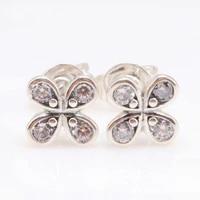 925 sterling silver pan earring dazzling good lucky clover flower earrings for women wedding gift fashion jewelry