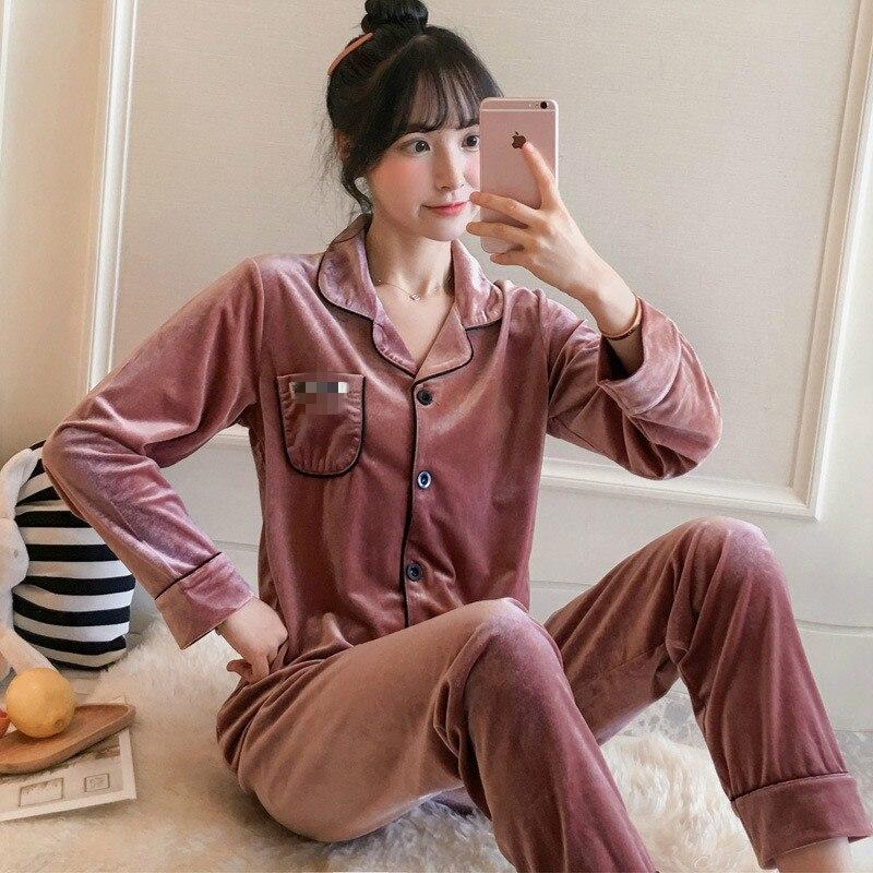 Пижама для женщин бархата золотого цвета с длинными рукавами и брюки для девочек с отложным воротником; Модная пикантная обувь на осень и зи...