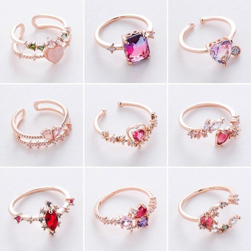 2020 novo coreano doce temperamento brilhante cristal na moda abertura anéis joker geométrica fina festa feminino anéis ajustável