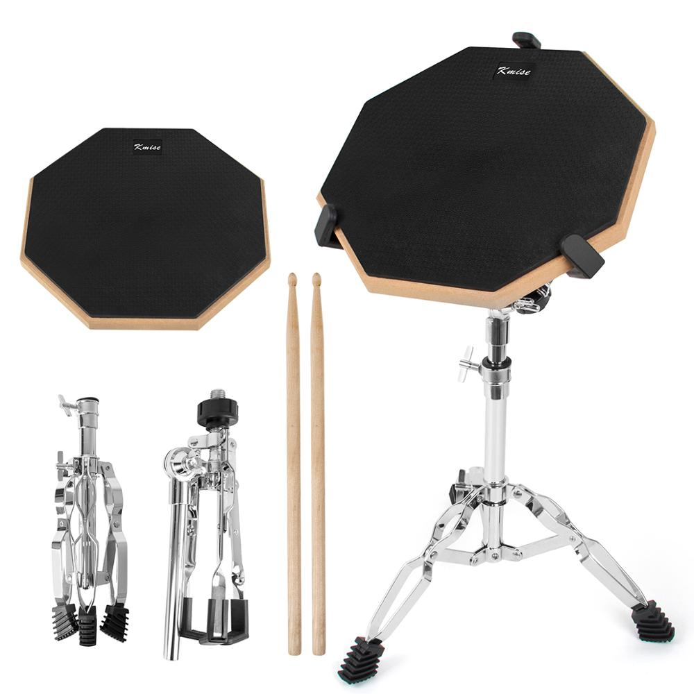 Kmise Dumb Drum 12 inch Snare Practice Drum Kit Pad Double Side w/ Drum Stand Sticks for Beginner Student Percusstion Instrument 10pcs bass snare drum sound off mute silencer drumming rubber practice pad set professional dropshipping