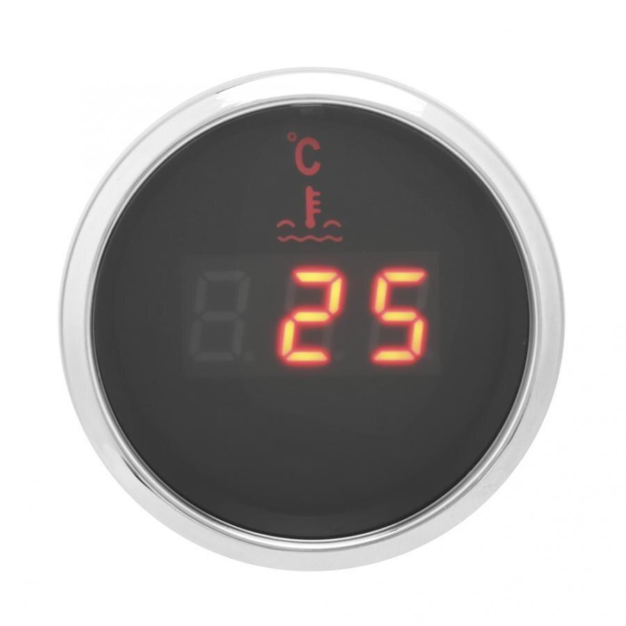 Medidor de temperatura de agua 52mm 9-32V medidor de visualización Digital inteligente de agua del coche-termómetro medidor de piezas de automóvil voltímetro