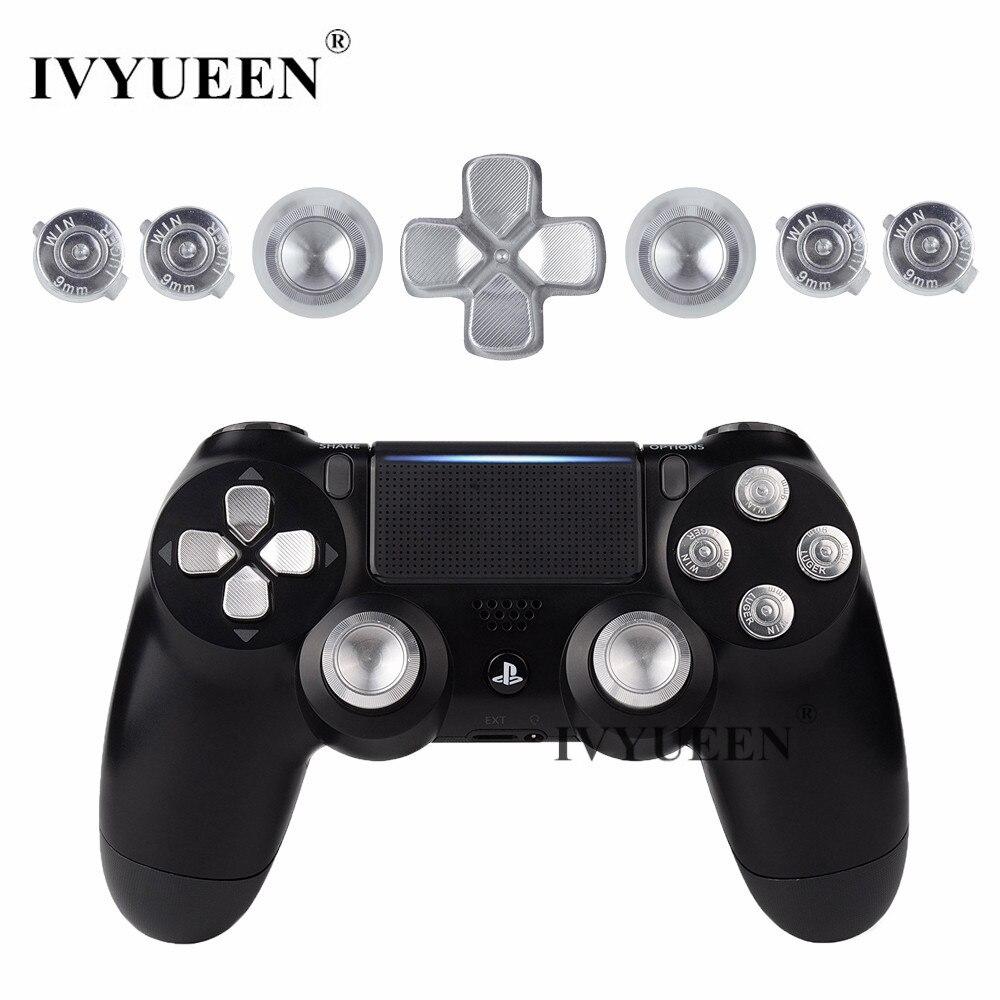 Ivyueen Voor Playstation Dualshock 4 PS4 Pro Slim Controller Silver Metal Analoge Duimpoken Dpad 9 Mm Bullet Knoppen Mod kit