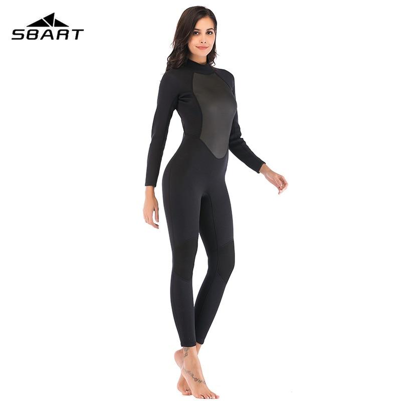 SBART Womens Wetsuit Full 3mm Neoprene Surfing Scuba Diving Snorkeling Swimming Suit Solid Black/Grey Long Sleeve Wet Suit Back