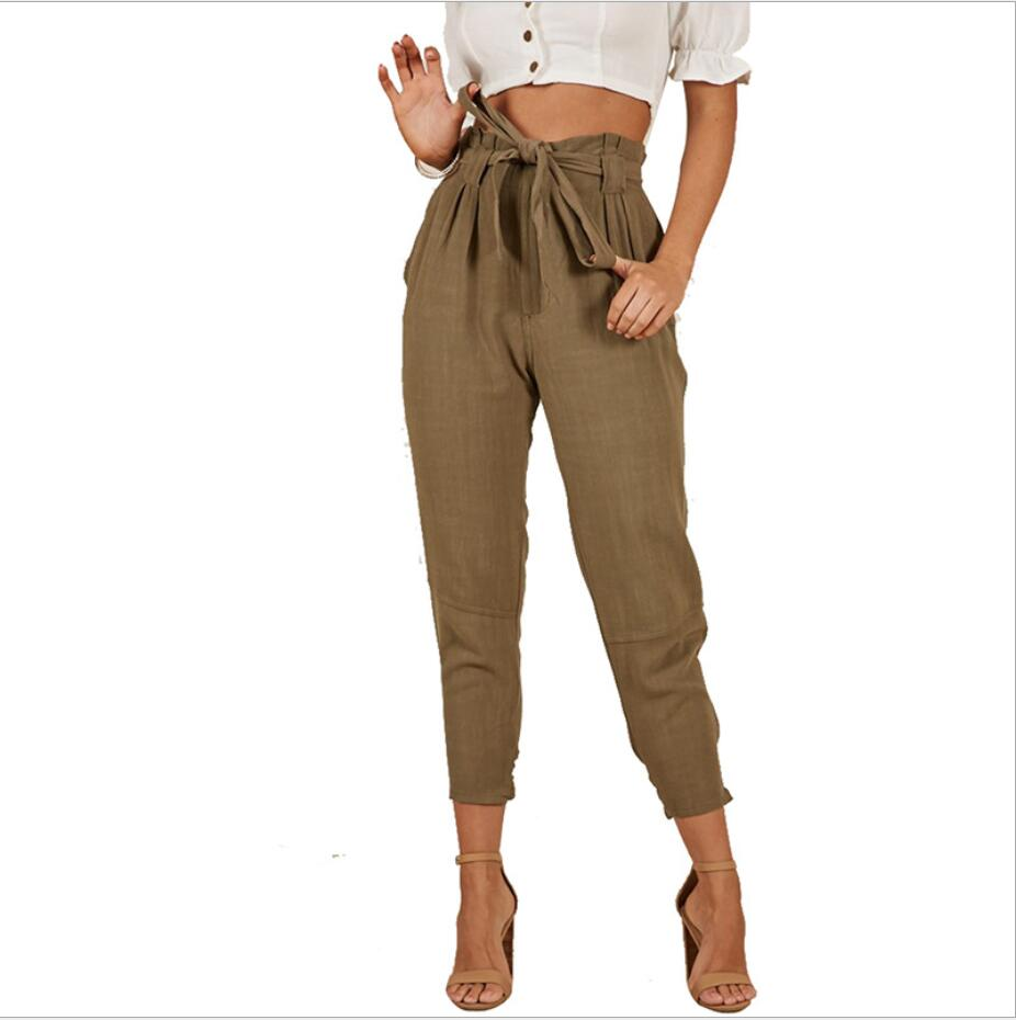 Cute High Waist Tied Front Paperbag Pants Women Baggy Work Trousers with Bow Tie Belt Pockets bow tied front slim fitted tee